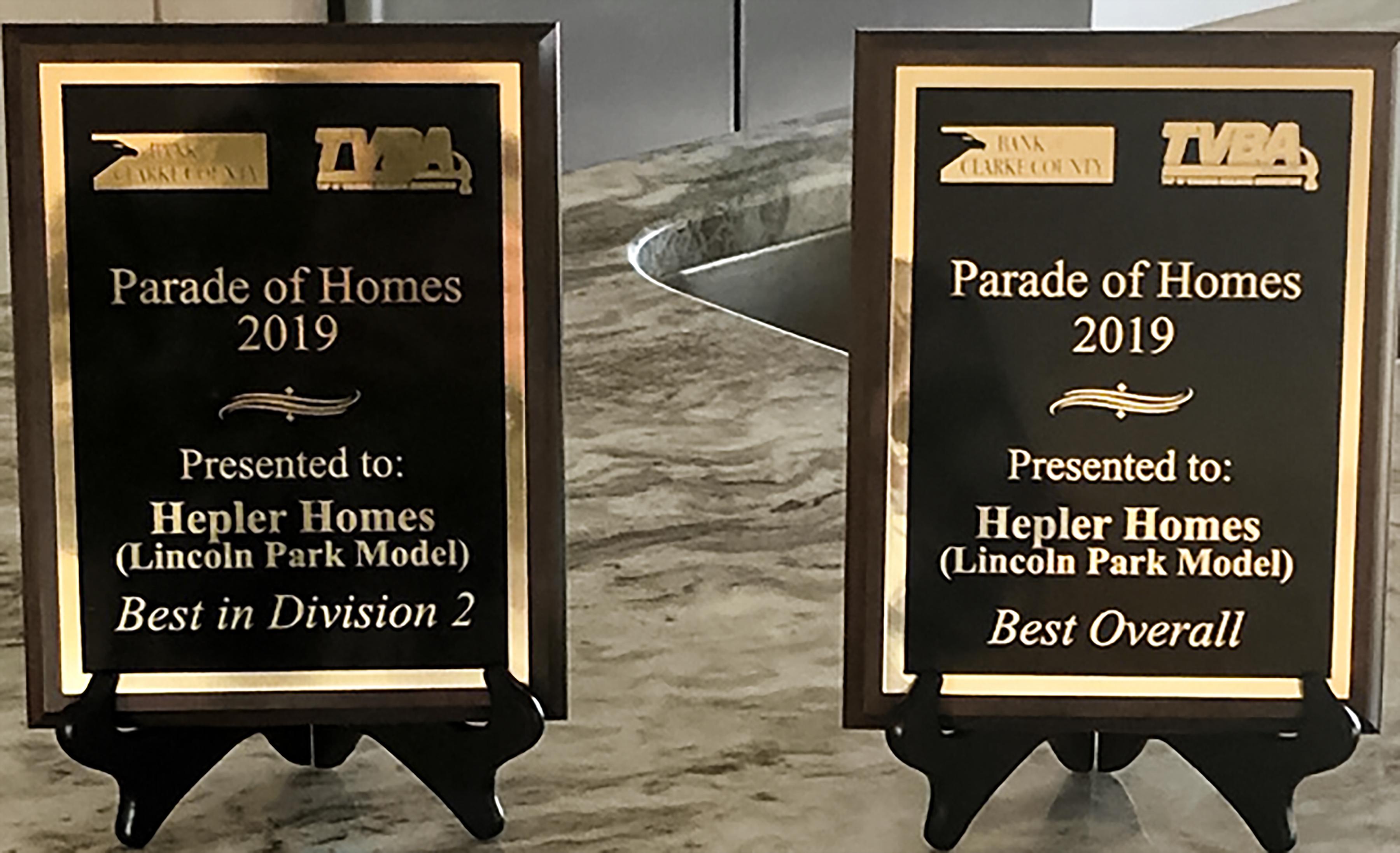 Parade of Homes Award Hepler Homes 2019
