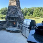 Custom built patio fireplace and BBQ
